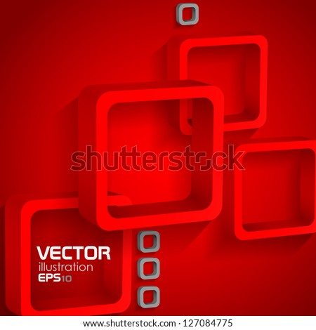 Red squares. Vector illustration. Eps 10. - stock vector