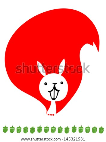 Red squirrel and nuts - stock vector