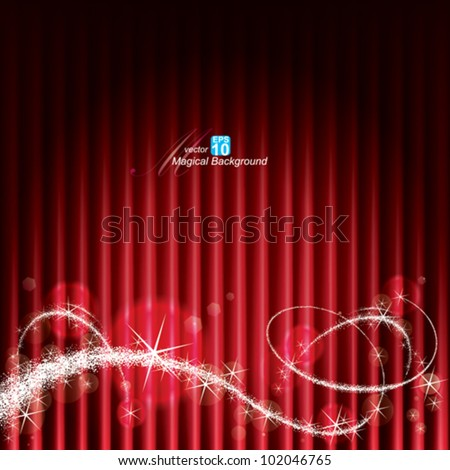 Red stage background with Magical Sparkles. - stock vector