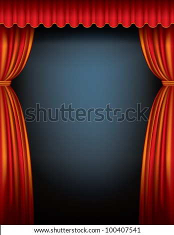 Red Stage Curtain - stock vector