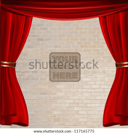 red stage curtain design. vector illustration. - stock vector