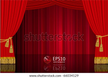 Red stage curtain. Highly realistic vector template. - stock vector