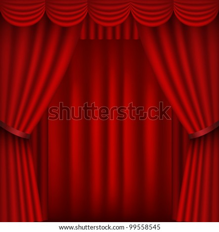Red stage curtain in square format