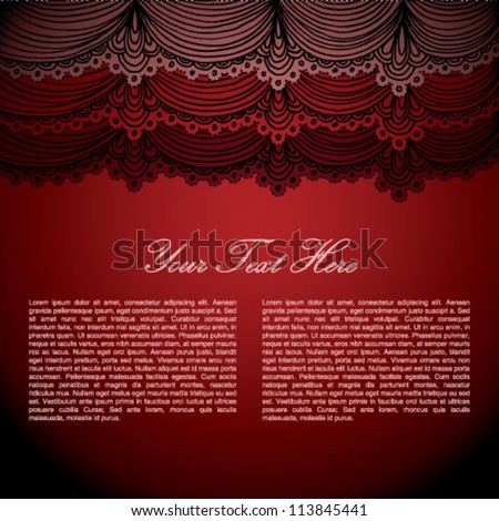 Red stage curtain with place for text - stock vector