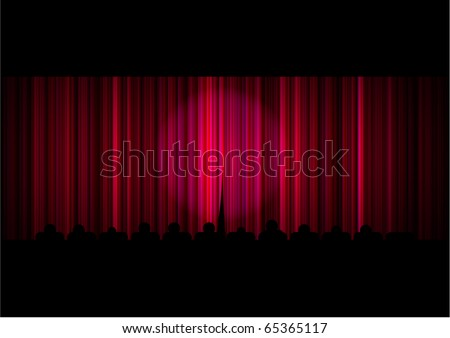 Red stage curtain with spotlight and people (eps10) - stock vector