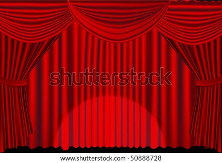 Red stage curtains with spotlight - stock vector