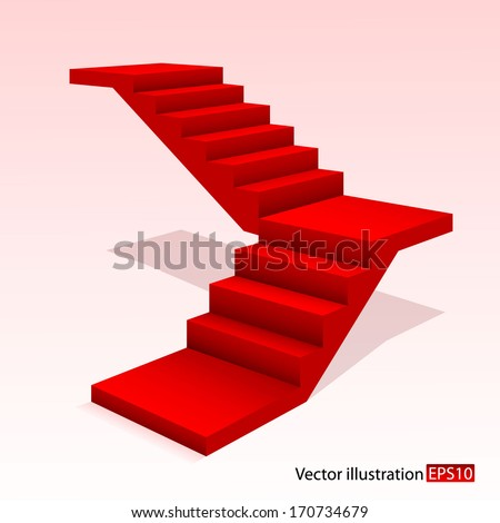 Red stair - stock vector