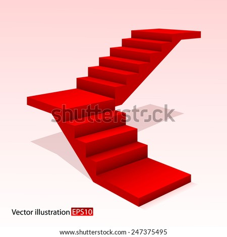 Red stair. - stock vector