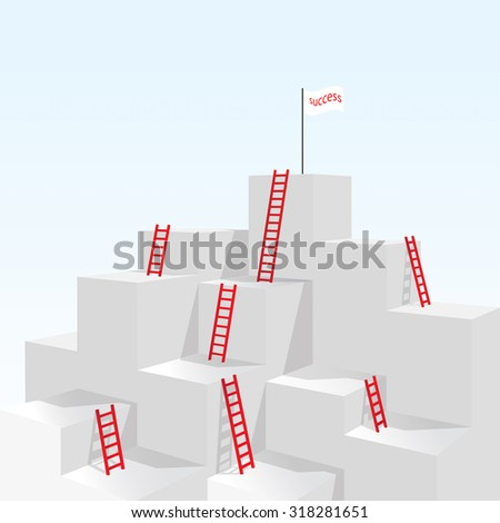 Red stair ladder up to success business concept