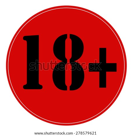 Red stamp with text 18+ age sign,vector illustration - stock vector