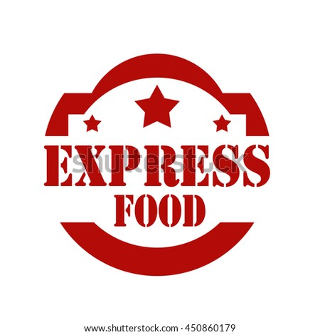 Red stamp with text Express Food,vector illustration - stock vector