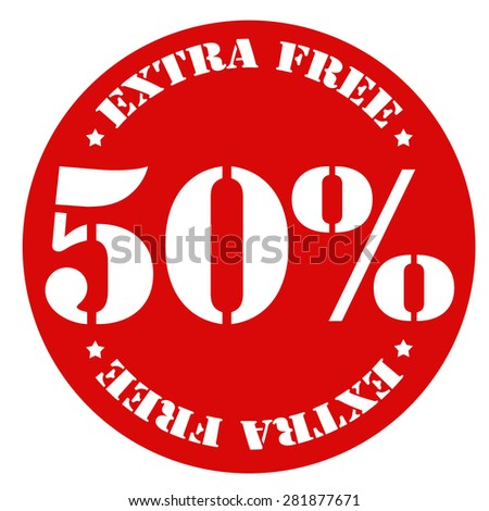Red stamp with text 50% Extra Free,vector illustration - stock vector