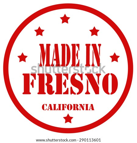 Red stamp with text Made In Fresno,vector illustration - stock vector
