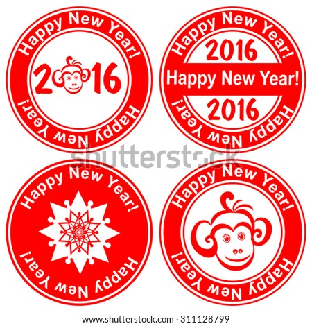 Red stamp with the text 2016 Happy New Year written on the stamp isolated on White background. Vector illustration
