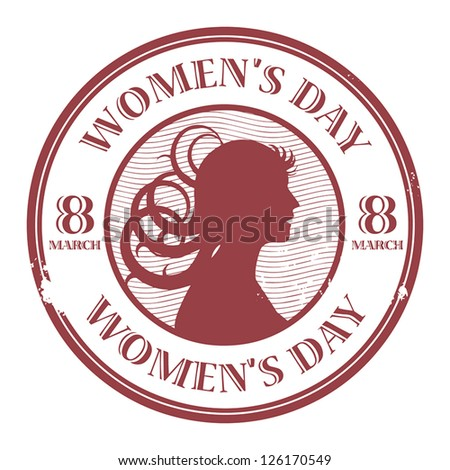 Red stamp with the text Women's Day written inside, vector illustration - stock vector