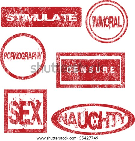 Red stamps with sexual meaning - stock vector