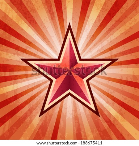 Red star burst army background - stock vector