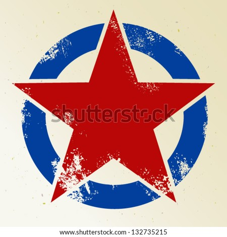 Red star in circle - stock vector