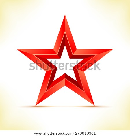Red star - vector illustration. Star as 3d polygonal object.  - stock vector