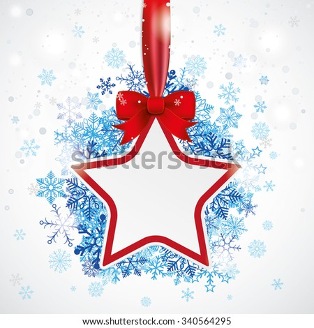 Red star with ribbon and blue snowflakes on the bokeh background. Eps 10 vector file. - stock vector