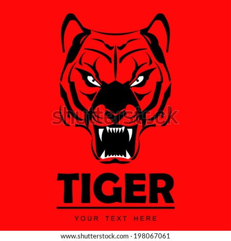 Red staring tiger. symbolizing the power, protection, dignity, etc. Suitable for team Mascot , team icon, community identity, product identity, illustration for apparel, clothing, etc.  - stock vector