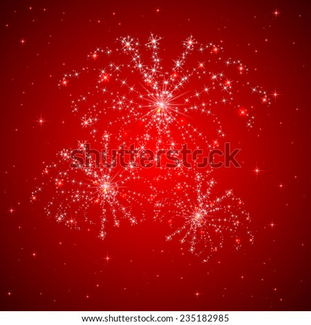 Red starry background with shiny fireworks, illustration. - stock vector