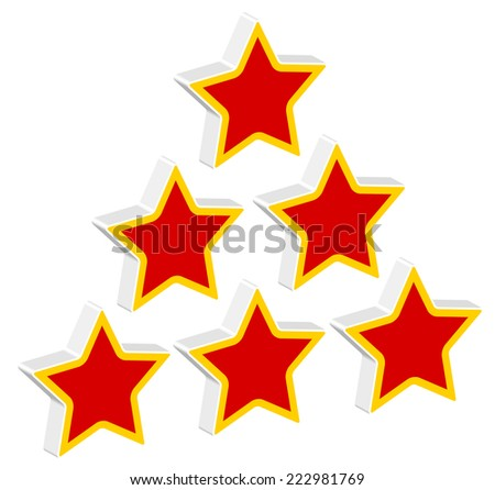 Red stars in triangle formation - stock vector