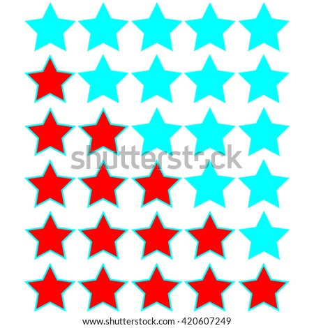 red stars of rating on azure stars - stock vector