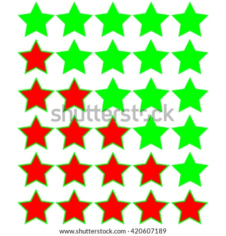 red stars of rating on green stars - stock vector