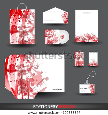Red Stationery design set in vector format - stock vector