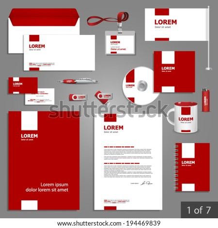 Red stationery template design with white square elements. Documentation for business. - stock vector