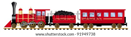 red steam locomotive with wagons, vector illustration - stock vector