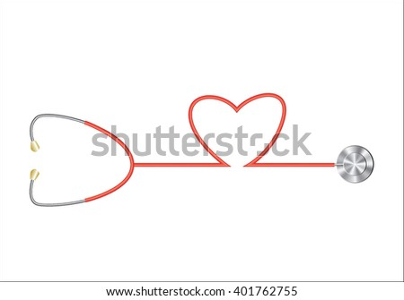 Red Stethoscope in Shape of Heart Isolated On White Background. - stock vector