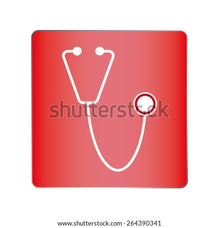 Red Stethoscope isolated on red. Medical symbol - stock vector