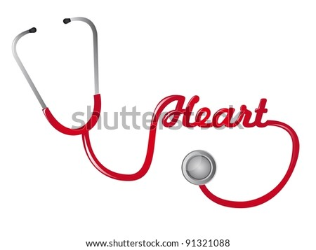 red stethoscope with hearth text vector illustration - stock vector