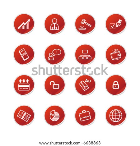 red sticker business icons - stock vector