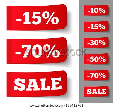 Red stickers with discounts, vector eps10 illustration - stock vector