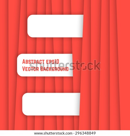 red streaky abstract background. concept of ribbon, magazine, origami, linear, tabby, stripy, packing, festive postcard, report, chart. flat style trend modern design eps10 vector illustration - stock vector
