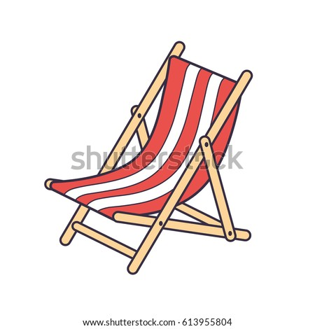 Red striped beach deck chair isolated stock vector 613955804 red striped beach deck chair isolated voltagebd Gallery