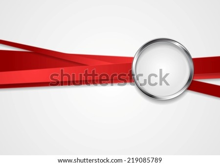 Red stripes with metal circle design. Vector background - stock vector