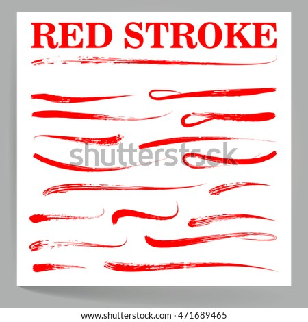 Red Stroke. Vintage Handmade Elements For Housewarming Posters, Greeting Cards, Home Decorations. Set Red Stroke. Vector Illustration