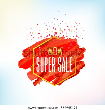 Red Style Water Colors Super Sale Concept Website Banner. Vector Elements, Web Layout Ad Illustration. Business Advertisement Design, Gift Voucher, Creative Geometric Shapes