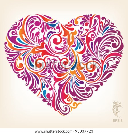 Red stylish heart with floral ornament, vector illustration - stock vector