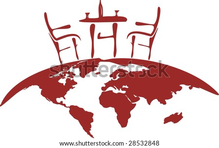 Red stylized vectorized illustration of chairs, table, glass and bottle for two person, placed on semicircular globe. - stock vector