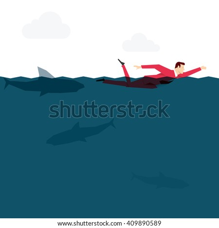 Red suit businessman in the ocean. Vector concept illustration. - stock vector