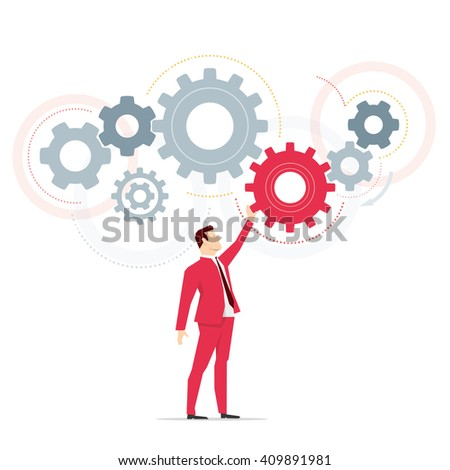 Red suit businessman. Work. Vector concept illustration. - stock vector
