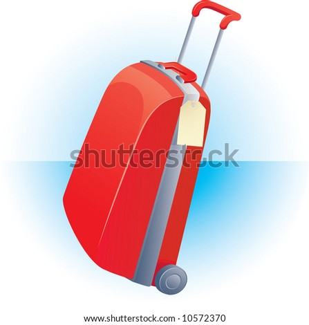 Red suitcase. Vector. - stock vector