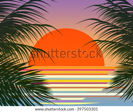 red sun rise in the sea vector - stock vector