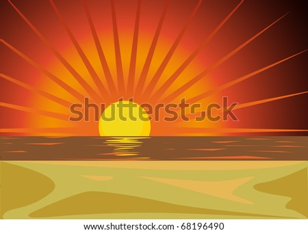 red sunset - stock vector