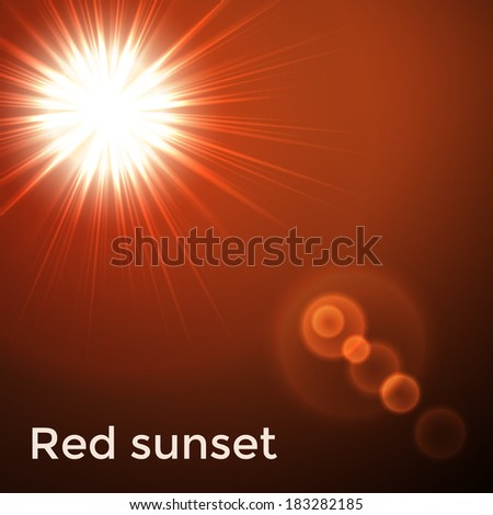 Red sunset flare. Vector illustration. - stock vector